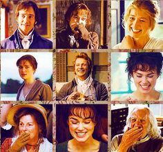 Laughing, smiling and giggling :) Matthew Macfadyen (Mr. Fitzwilliam Darcy) smiles, Keira Knightley (Elizabeth Bennet) smiles, Rosamund Pike (Jane Bennet) smiles, Simon Woods (Mr. Charles Bingley) smiles, Brenda Blethyn (Mrs. Bennet) smiles & Donald Sutherland (Mr. Bennet) smiles :) - Pride & Prejudice (2005) :)  #janeausten :) #joewright :)
