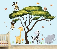Amazon.com : African Tree, Safari Pride Jungle Tree Wall Decals, Jungle Stickers with Green Leaves : Baby