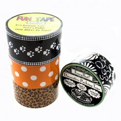 4 Large Rolls Fun Packing Tape - Polka Dots, Cheetah, Cat Paws