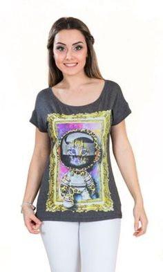 T-Shirt Tok Fashion Gato Astronauta Mescla Escuro