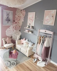 51 ideas for baby girl room colors grey gray Baby Bedroom, Baby Room Decor, Nursery Room, Baby Girl Bedroom Ideas, Baby Girl Nursery Pink And Grey, Room Baby, Bedroom Themes, Bedroom Decor, Nursery Themes