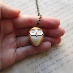 Owl Necklace Bird Pendant Cute Barn Owl Miniature Totem Bird Jewelry Kawaii Owl Clay Bird Jewellery Tiny Animal Bird Lover Gift