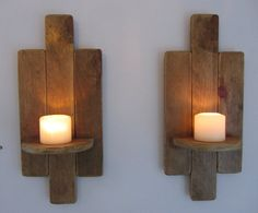 Pair of tall art deco style wall sconce's / by TimberWizards Wall Candle Holders, Candle Wall Sconces, Wood Pallets, Pallet Wood, Wood Floating Shelves, Pallet Crafts, Led Candles, Wooden Walls, Art Deco Fashion