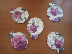 Set of 5 Decoupaged Coasters by ThePurpleDream on Etsy