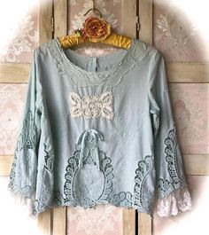 Dreamy Rustic French Blue Lace Tatter Top Charming Marie