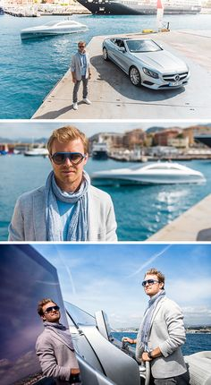 "Nico Rosberg and Lewis Hamilton from the MERCEDES AMG PETRONAS Formula 1 Team meet during the run-up to the Monaco Grand Prix for a sensational event off the racetrack: Rosberg demonstrates the world of modern luxury with the S-Class Cabriolet and the Mercedes-Benz Style luxury motor yacht, the ""Arrow460–Granturismo""."