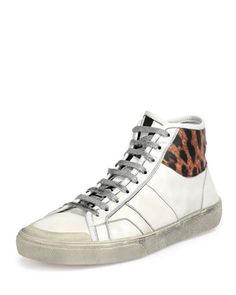 Leopard-Trim+Leather+High-Top+Sneaker,+White+by+Saint+Laurent+at+Neiman+Marcus.