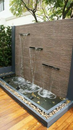 Outdoor water feature ideas indoor wall fountain backyard fountains with tsp home decor build interior a . Modern Water Feature, Outdoor Water Features, Backyard Water Feature, Water Features In The Garden, Wall Water Features, Outdoor Wall Fountains, Outdoor Walls, Patio Fountain, Garden Water Fountains
