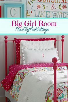 Fun big girl bedroom reveal. Aqua painted walls with lots of bright pink accents. PB Teen bedding and cottage coastal style. Great DIY ideas.