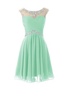 Mint green chiffon knee length short beaded prom dresses