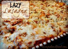 Lazy Lasagna - SO easy & SO delicious!!! Made with egg noodles in a sour cream, cottage cheese mixture, layered with a rich tomato meat sauce and cheese!!! Easy to adjust to make it your own.