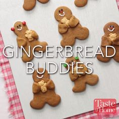 Gingerbread Buddies Recipe These cookies were ideal for a winter get-together I hosted. Holiday Cookies, Holiday Baking, Christmas Desserts, Holiday Treats, Holiday Recipes, Thanksgiving Desserts, Ginger Bread Cookies Recipe, Ginger Cookies, Almond Cookies