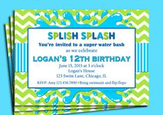 Splish Splash Invitation Printable   Pool Party by ThatPartyChick, $15.00