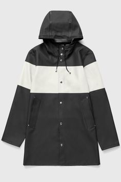 d05ffe6183ff3 Stutterheim Raincoats Stockholm Stripe Black White - S · Raincoat  JacketHooded ...