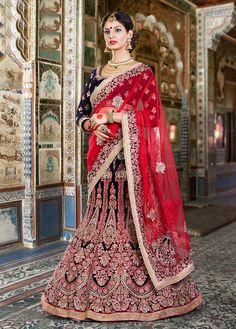 Blue Lehenga Choli, Velvet Lehenga Choli, $569.21. Buy latest Lengha choli with custom stitching and worldwide shipping.