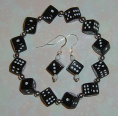Dice Jewelry Set - Bunco / Bunko party gift - Bracelet and Earrings - Black - 10mm Dice Beads - Gift Box. $7.00, via Etsy.