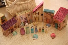 inspiration ~ scrap wood village with peg people