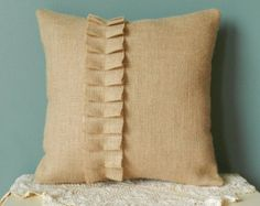 14 Burlap Throw Pillow with Ruffle Decorative by BurlapNBlossoms Bed Cover Design, Cushion Cover Designs, Burlap Throw Pillows, Throw Cushions, Diy Pillow Covers, Decorative Pillow Covers, Clothing Store Displays, Cute Cushions, Diy Fashion Projects