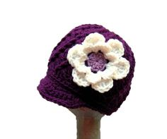Crochet girls newsboy hat, Crochet baby hat, toddler hat with flower, crochet newsboy for girl, purple and white - pick the color and size