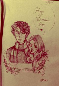 Harry + ginny by acidemily on deviantart Harry Potter Ginny Weasley, Harry Potter Artwork, Harry Potter Puns, Harry And Ginny, Harry Potter Drawings, Harry Potter Pictures, Harry Potter Love, Harry Potter World, Hermione Granger