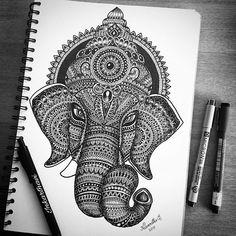 Mandala ganesh hindu art design zendoodle