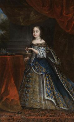 c.1661.Henrietta of England as Cleopatra.Princess Henrietta Anne of England (1644-70) before her marriage to Philippe I,Duke of Orléans.Circle of Charles Beaubrun (1604-92) oil on canvas.175.5×107.5cm,Private collection.