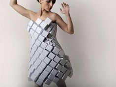 Another Origami dress, by Amila Hrustic Paper Fashion, 3d Fashion, Fashion Show, Fashion Outfits, Fashion Design, Dress Fashion, Geometric Fashion, Geometric Dress, Origami Vestidos