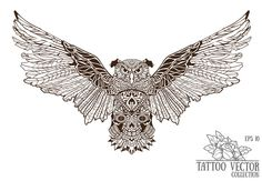 Owl with skull - tattoo vector by It's Time to Designs on Creative Market