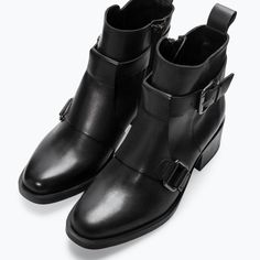 LEATHER MID HEELED BUCKLED BOOTIE from Zara