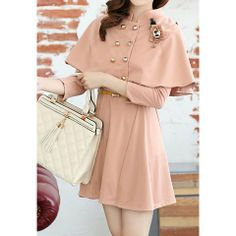 Ladylike Style Scoop Collar Solid Color Cloak Design Twinset Long Sleeve Cotton Blend Women's Dress