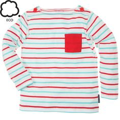 Sailor Stripe Eco Pocket Top. Long-sleeved organic cotton top from our Eco Collection in our ever popular Sailor Stripes.