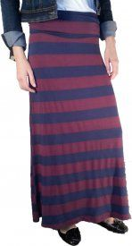 Striped Rayon Maxi Skirt - Navy/Mulberry - $21 at DCM Apparel