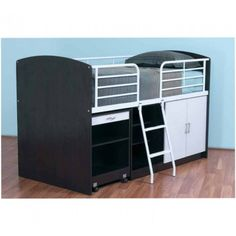 The Studio Combo Bunk combines a single bed, pull out desk, bookcase and cupboard.