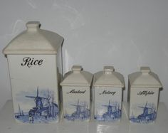 Vintage spice jars . art deco spice jars . windmill spice jars . kitchen canisters . delft canisters . 4 spice jars . Dutch spice containers by vintagous on Etsy