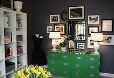 charcoal. black and white. green. yellow. great color combo.