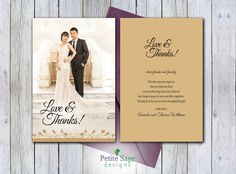 Photo Thank You Card, Printable Wedding Postcard ~ Express your gratitude to your wedding guests with this elegant Thank You Card. This is a printable file that I customize for you with your personal wedding photo: https://www.etsy.com/listing/488970511/photo-thank-you-card-printable-wedding