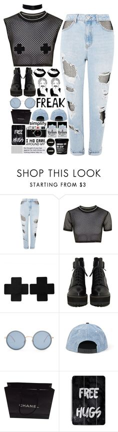 """""""5660"""" by tiffanyelinor ❤ liked on Polyvore featuring Topshop, Linda Farrow, Chanel, Leica, Casetify and Hickey"""