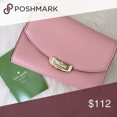 """AUTHENTIC KATE SPADE MULBERRY STREET CALLIE CLUTCH Beautiful 100% Authentic 🔹Kate Spade mulberry Street Callie Clutch🔹 Color: Rose Jade 🔹Pebbled leather 🔹 slip pocket in back 🔹7 card slots 🔹ID window 🔹1 billfold pocket 🔹 4 slip pockets🔹Approximate dimensions: 6"""" (L) x 4"""" ( H) x 1.25"""" (W) NO trades and a smoke free home. Please visit our beautiful friend Molinda @molinda25 for more Kate Spade beauties. Thank you for stopping by! 💕🌻💕 kate spade Bags Clutches & Wristlets"""