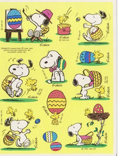Vintage 80'S SNOOPY Easter sticker sheet by Hallmark