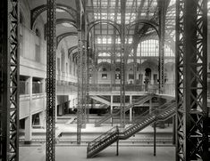 """New York circa 1910. """"Track level, main and exit concourses, Pennsylvania Station."""" 8x10 inch glass negative, Detroit Publishing Co. :: Shorpy Historical Photo Archive :: All Aboard: 1910"""