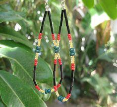 Long rasta earrings beaded jewelry festival by SunshineDaydreamz, $8.00