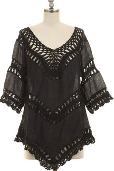 LOOSE FIT CROCHET DETAIL CONTRAST TUNIC TOP