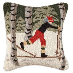 Chandler 4 Corners Back Country Skier in Woods Pillow Zippered Velveteen Backing Hand Hooked Wool Beautiful Handmade Decorative Design Rug Hooking Patterns, Hand Hooked Rugs, Wool Pillows, Wool Rugs, Penny Rugs, Designer Throw Pillows, Handmade Decorations, Accent Pillows, Decorative Throw Pillows