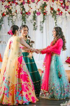 Bridal Squad // SITARA COLLECTION  by Designerz Den Indian Bridesmaid Dresses, Bridesmaid Poses, Indian Wedding Gowns, Desi Wedding Dresses, Indian Bridal Fashion, Pakistani Bridal Dresses, Brides And Bridesmaids, Indian Wedding Photography Poses, Girl Photography Poses