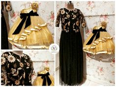 Startling mix of black and gold for the lovely ladies. Beautiful mom and daughter duo. Stunning black color long gown with floret lata design hand embroidery thread work over coat. Blouse Styles, Blouse Designs, Mom Daughter Matching Outfits, Combo Dress, Family Outfits, Indian Attire, Simple Designs, Gowns, Lady