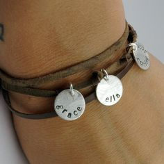Personalized Silver and Leather Mom Bracelet  by thebeadgirl, $82.00