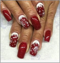 Winter nails with snowflake; red and white Christmas nails; cute and unique Chri. - - Winter nails with snowflake; red and white Christmas nails; cute and unique Chri… – - Holiday Nail Art, Winter Nail Art, Winter Nails, Nail Art For Christmas, Xmas Nail Art, Red Nail Art, Summer Nails, Nail Art Noel, Nail Art Diy