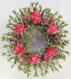 XL Spring Wreath Summer Wreath Coral Pink by CrookedTreeCreation