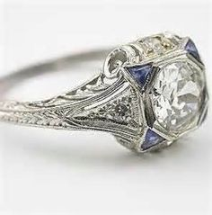 art deco sapphire and diamond ring circa 1920