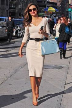 Miranda Kerr Inspires 60 Looks to Wear Now (and Later): Miranda put a modern spin on classic style — looking glamorous as ever — in a cream-colored Victoria Beckham dress accessorized with a light-blue Prada tote, Lanvin heels, and Miu Miu sunglasses. Work Fashion, Fashion Photo, Fashion Outfits, Fashion Ideas, Womens Fashion, Trendy Fashion, Ladies Fashion, Fashion Clothes, Fashion Fashion